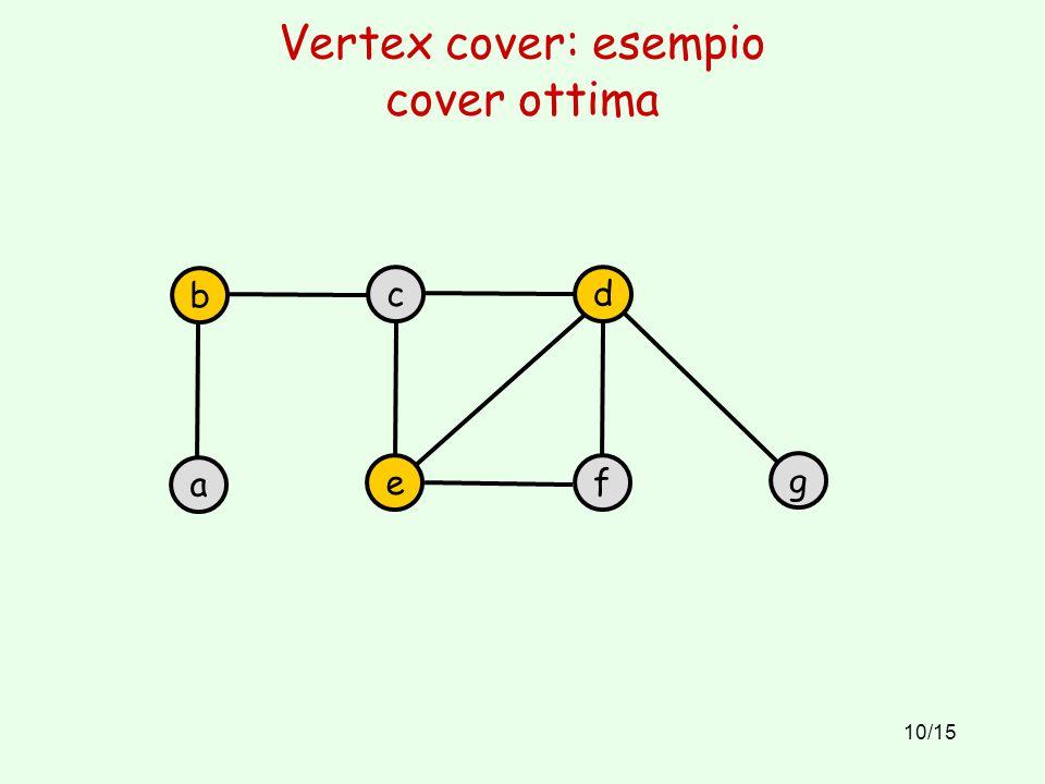 10/15 Vertex cover: esempio cover ottima b a c e d f g