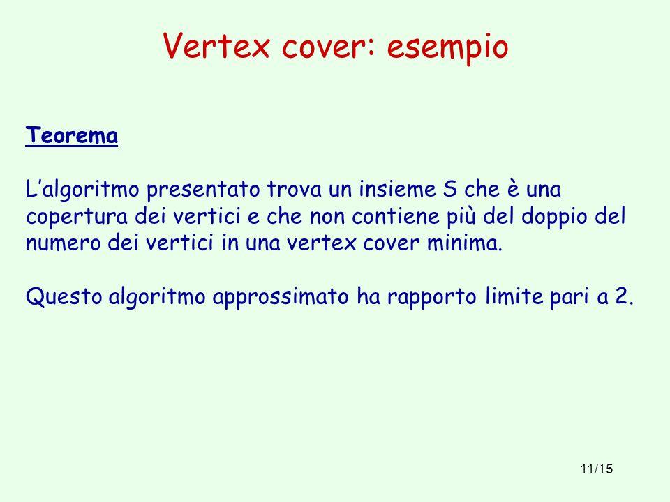 11/15 Vertex cover: esempio Teorema L'algoritmo presentato trova un insieme S che è una copertura dei vertici e che non contiene più del doppio del nu
