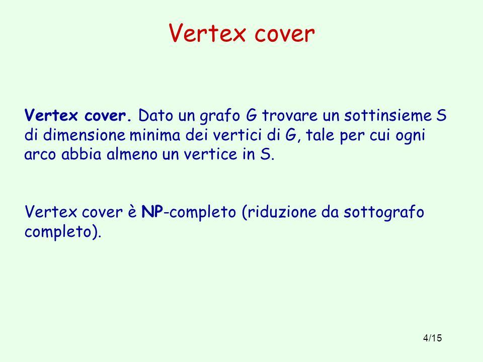 4/15 Vertex cover Vertex cover. Dato un grafo G trovare un sottinsieme S di dimensione minima dei vertici di G, tale per cui ogni arco abbia almeno un