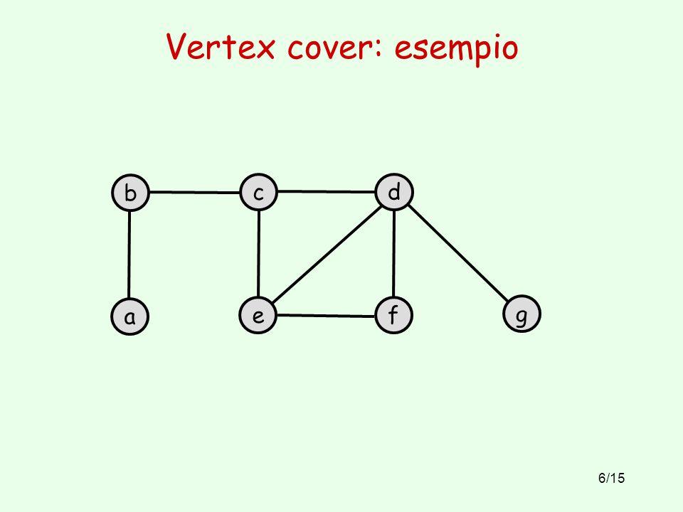 6/15 Vertex cover: esempio b a c e d f g