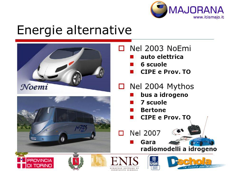 Energie alternative  Nel 2003 NoEmi auto elettrica 6 scuole CIPE e Prov.