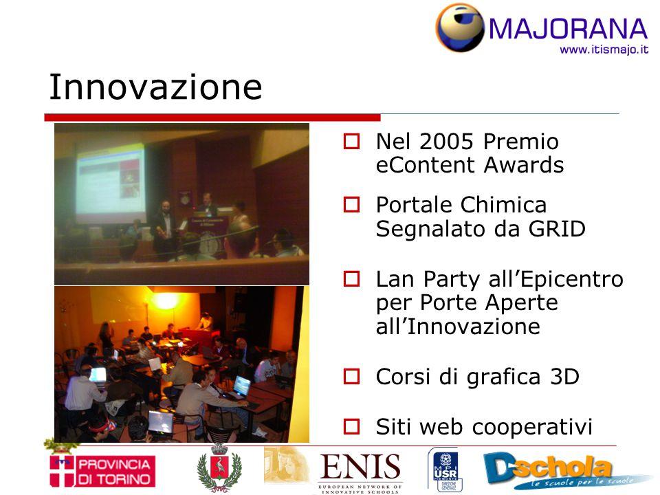 Innovazione  Nel 2005 Premio eContent Awards  Portale Chimica Segnalato da GRID  Lan Party all'Epicentro per Porte Aperte all'Innovazione  Corsi di grafica 3D  Siti web cooperativi