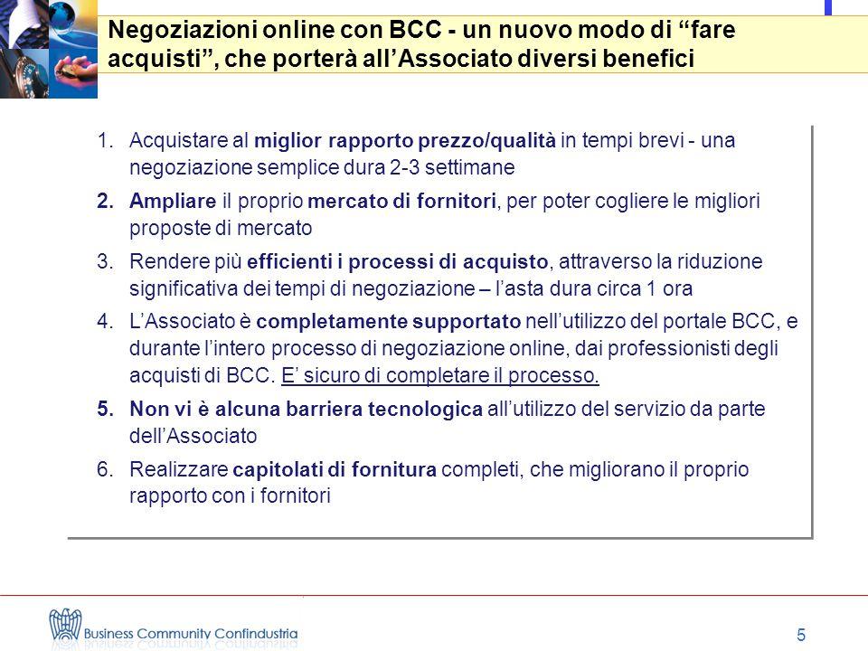 """5 Negoziazioni online con BCC - un nuovo modo di """"fare acquisti"""", che porterà all'Associato diversi benefici 1.Acquistare al miglior rapporto prezzo/q"""
