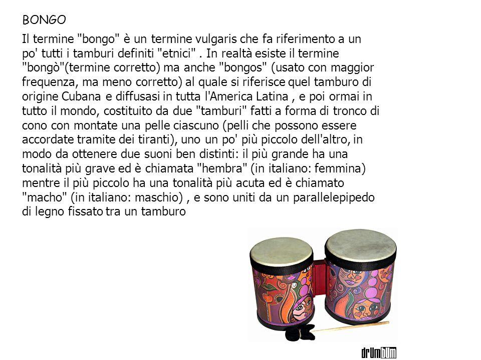 Il termine bongo è un termine vulgaris che fa riferimento a un po tutti i tamburi definiti etnici .