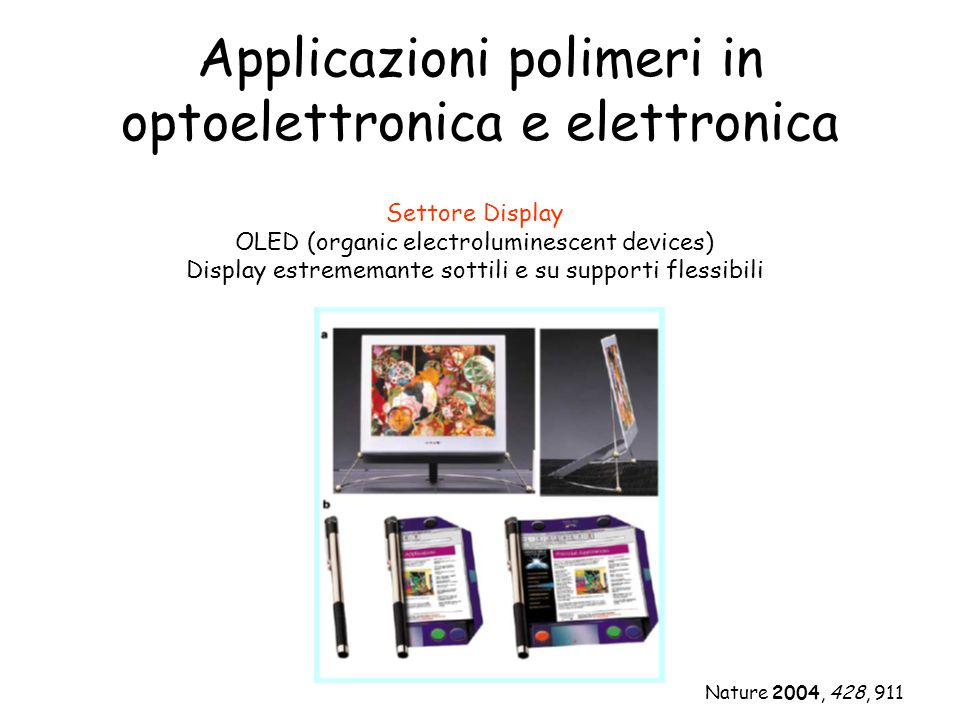 Applicazioni polimeri in optoelettronica e elettronica Settore Display OLED (organic electroluminescent devices) Display estrememante sottili e su sup