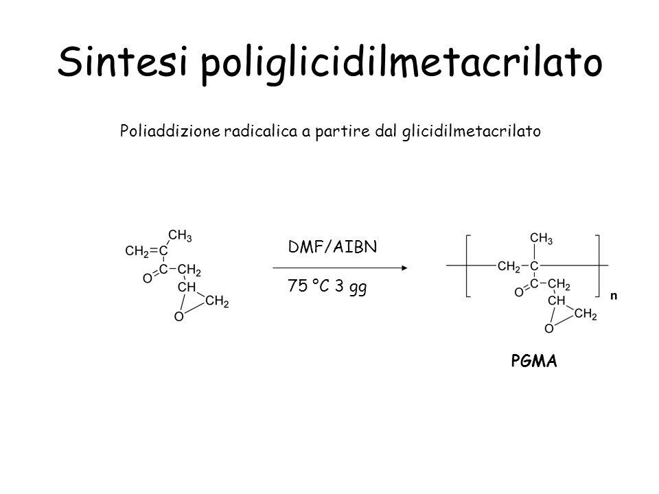 Sintesi poliglicidilmetacrilato Poliaddizione radicalica a partire dal glicidilmetacrilato DMF/AIBN 75 °C 3 gg PGMA