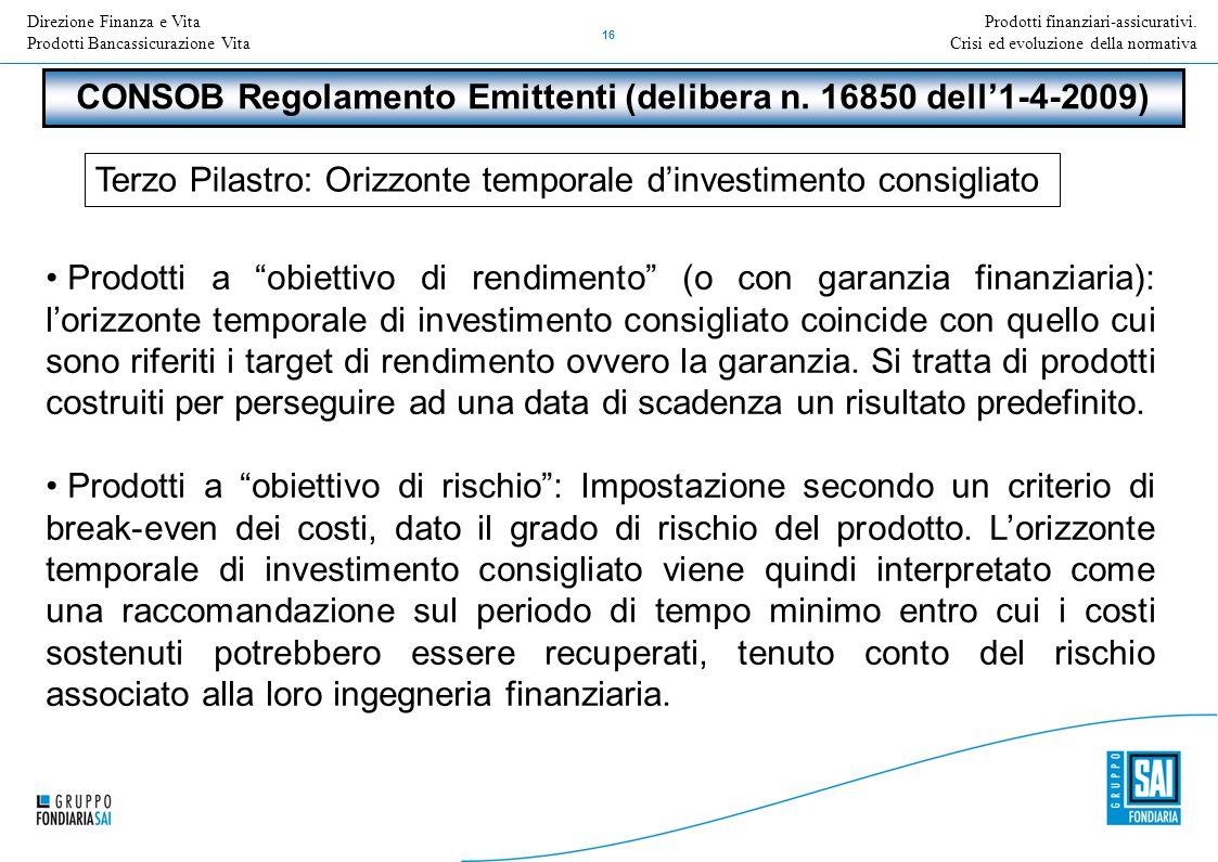 Direzione Nome della Direzione Inserire Titolo e versione della presentazione 16 Prodotti finanziari-assicurativi. Crisi ed evoluzione della normativa