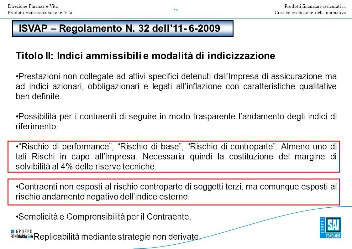 Direzione Nome della Direzione Inserire Titolo e versione della presentazione 19 Prodotti finanziari-assicurativi. Crisi ed evoluzione della normativa