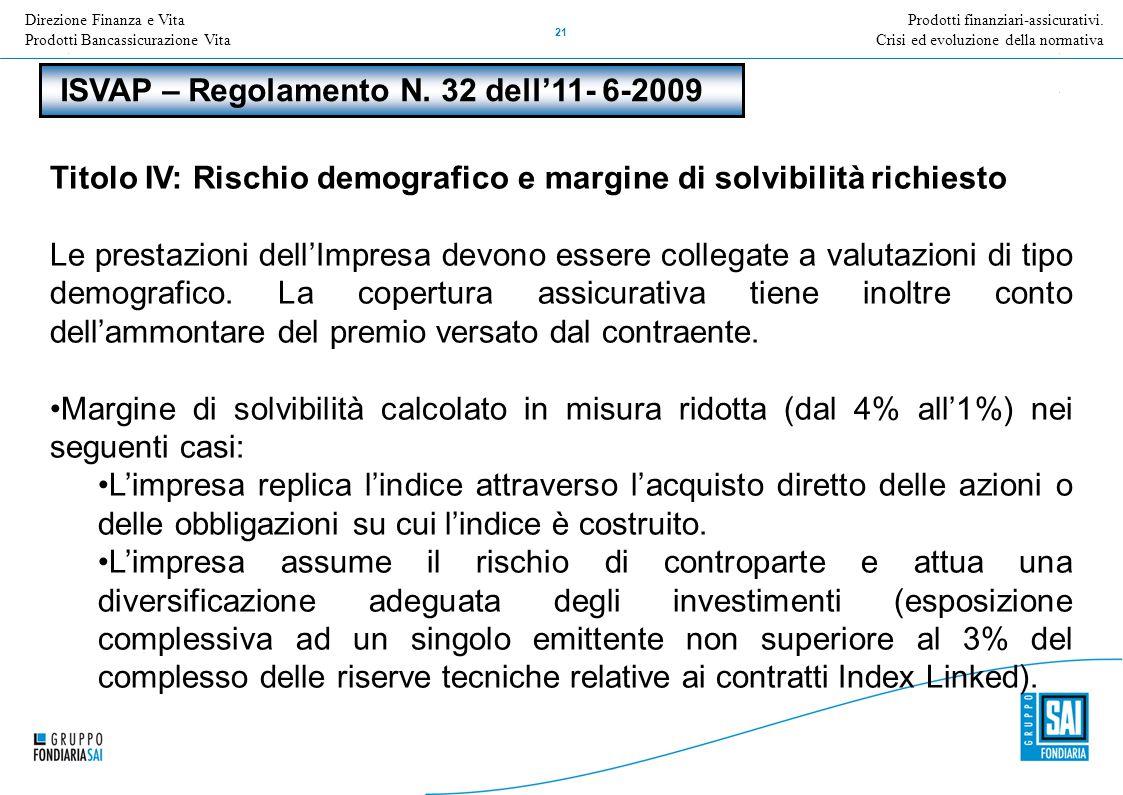 Direzione Nome della Direzione Inserire Titolo e versione della presentazione 21 Prodotti finanziari-assicurativi. Crisi ed evoluzione della normativa