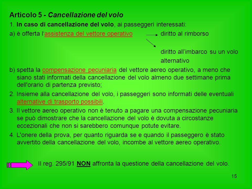 15 Articolo 5 - Cancellazione del volo 1. In caso di cancellazione del volo, ai passeggeri interessati: a)è offerta l'assistenza del vettore operativo