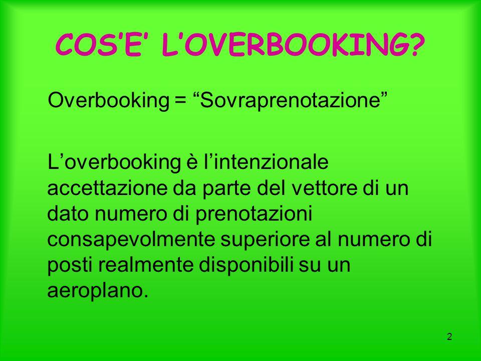 """2 COS'E' L'OVERBOOKING? Overbooking = """"Sovraprenotazione"""" L'overbooking è l'intenzionale accettazione da parte del vettore di un dato numero di prenot"""