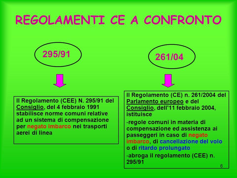6 REGOLAMENTI CE A CONFRONTO Il Regolamento (CEE) N. 295/91 del Consiglio, del 4 febbraio 1991 stabilisce norme comuni relative ad un sistema di compe
