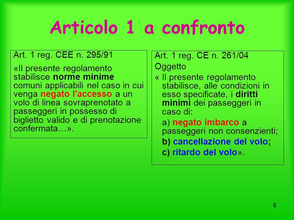 8 Articolo 1 a confronto Art. 1 reg. CEE n. 295/91 «Il presente regolamento stabilisce norme minime comuni applicabili nel caso in cui venga negato l'