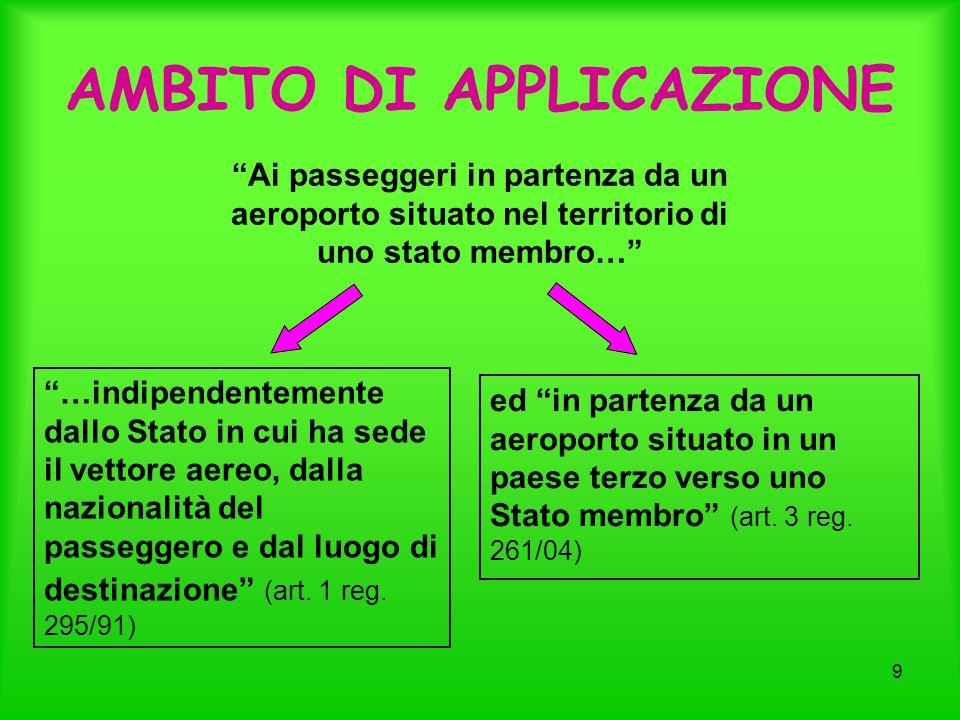 9 AMBITO DI APPLICAZIONE …indipendentemente dallo Stato in cui ha sede il vettore aereo, dalla nazionalità del passeggero e dal luogo di destinazione (art.