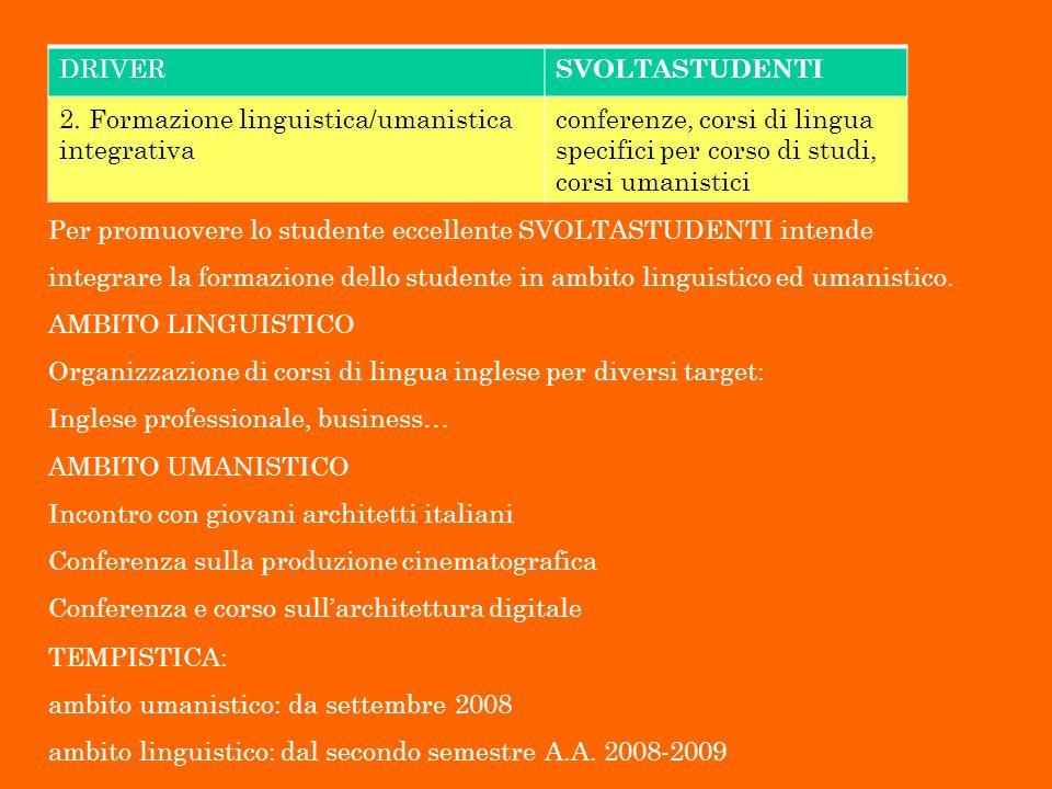 DRIVER SVOLTASTUDENTI 2. Formazione linguistica/umanistica integrativa conferenze, corsi di lingua specifici per corso di studi, corsi umanistici Per