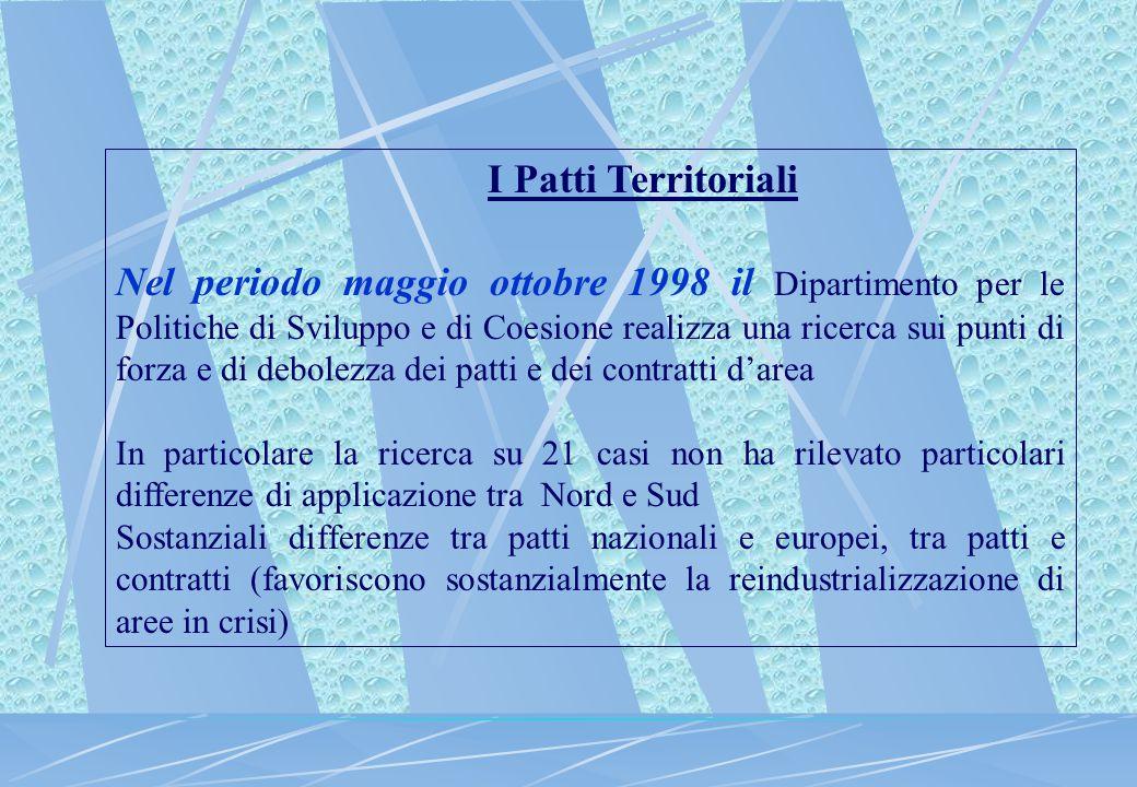 I Patti Territoriali Nel periodo maggio ottobre 1998 il Dipartimento per le Politiche di Sviluppo e di Coesione realizza una ricerca sui punti di forz