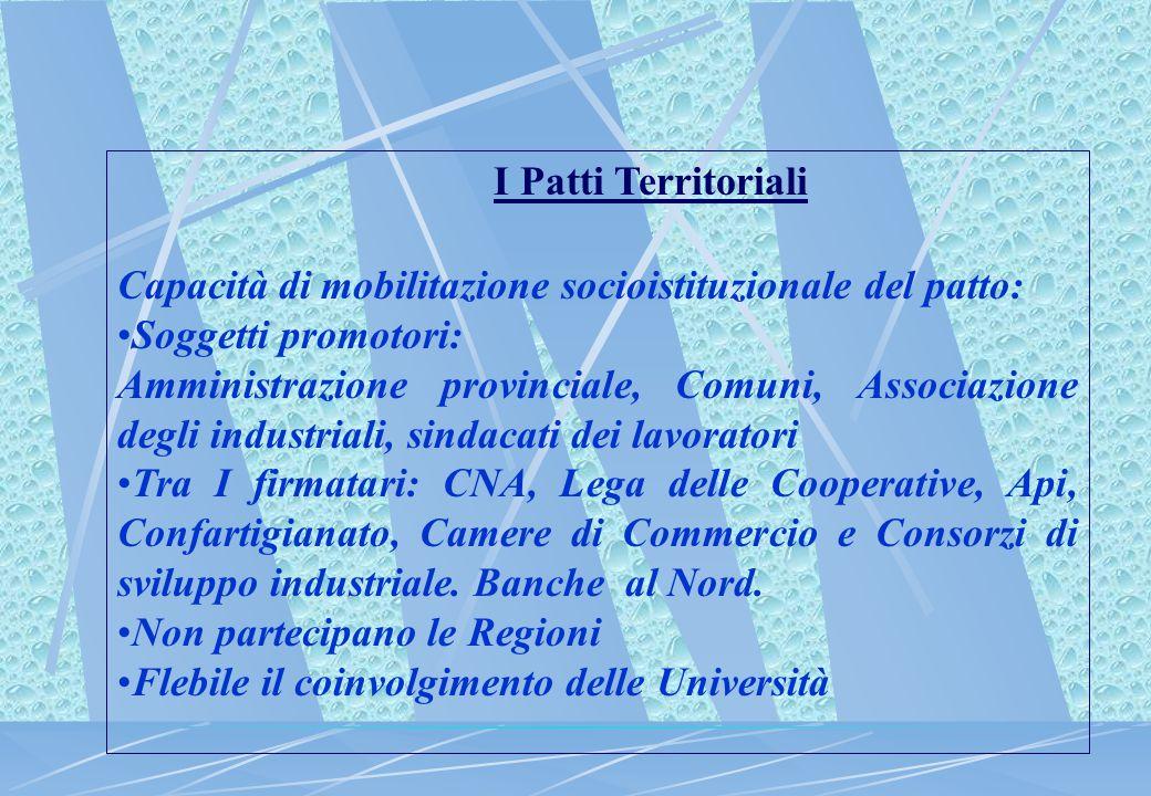 I Patti Territoriali Capacità di mobilitazione socioistituzionale del patto: Soggetti promotori: Amministrazione provinciale, Comuni, Associazione deg