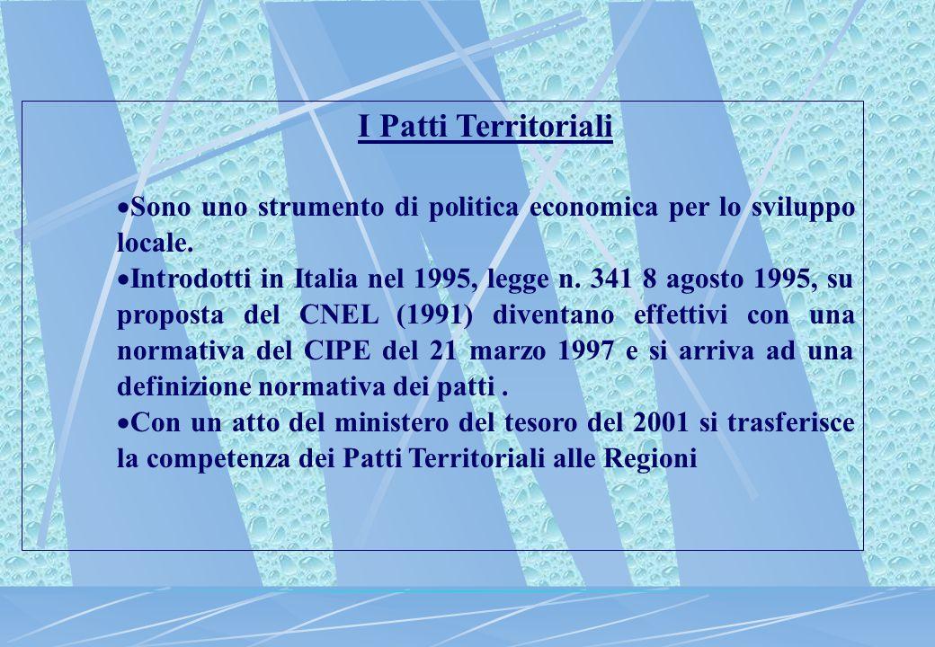 I Patti Territoriali Il patto incorpora relativamente allo sviluppo locale il duplice aspetto: Finanziare grappoli di imprese e infrastrutture ad esse funzionali e contemporaneamente, incentivare la costruzione di contesti istituzionali congrui con lo sviluppo.