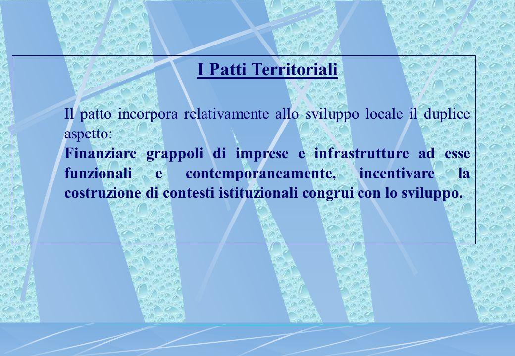 I Patti Territoriali Il patto incorpora relativamente allo sviluppo locale il duplice aspetto: Finanziare grappoli di imprese e infrastrutture ad esse