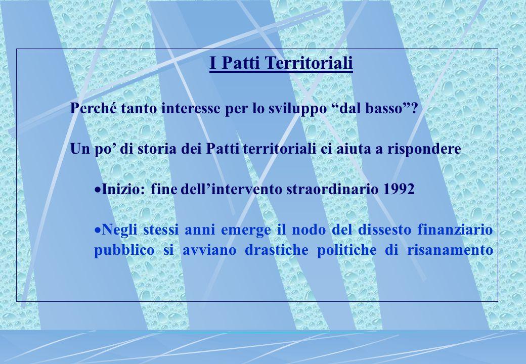 """I Patti Territoriali Perché tanto interesse per lo sviluppo """"dal basso""""? Un po' di storia dei Patti territoriali ci aiuta a rispondere  Inizio: fine"""