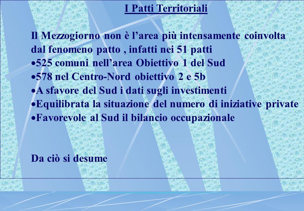 I Patti Territoriali Il Mezzogiorno non è l'area più intensamente coinvolta dal fenomeno patto, infatti nei 51 patti  525 comuni nell'area Obiettivo