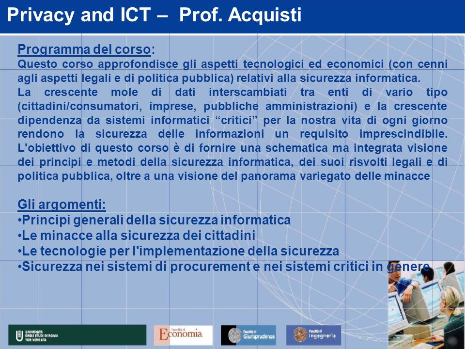 Privacy and ICT – Prof.