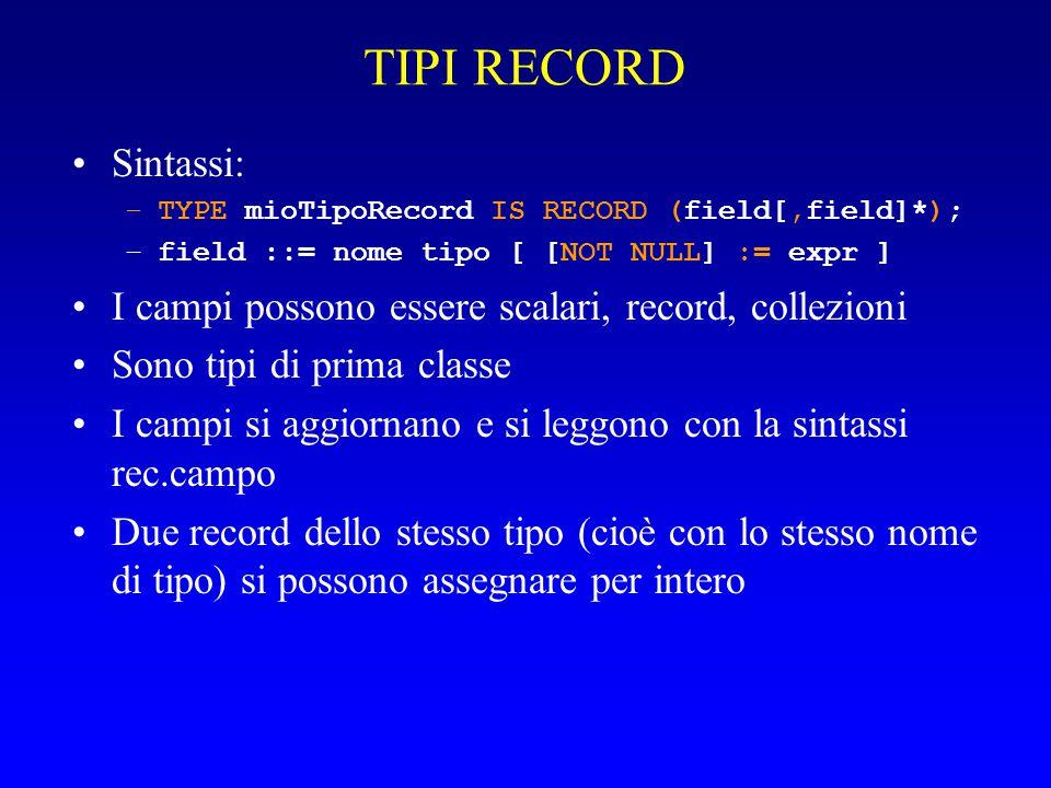 TIPI RECORD Sintassi: –TYPE mioTipoRecord IS RECORD (field[,field]*); –field ::= nome tipo [ [NOT NULL] := expr ] I campi possono essere scalari, record, collezioni Sono tipi di prima classe I campi si aggiornano e si leggono con la sintassi rec.campo Due record dello stesso tipo (cioè con lo stesso nome di tipo) si possono assegnare per intero