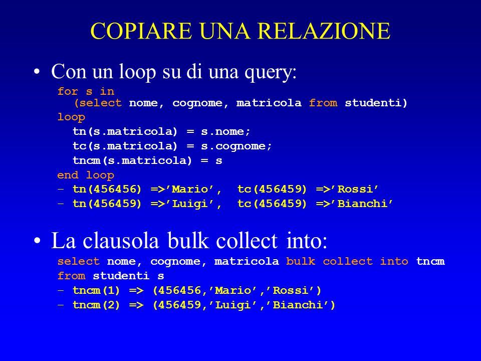 COPIARE UNA RELAZIONE Con un loop su di una query: for s in (select nome, cognome, matricola from studenti) loop tn(s.matricola) = s.nome; tc(s.matric