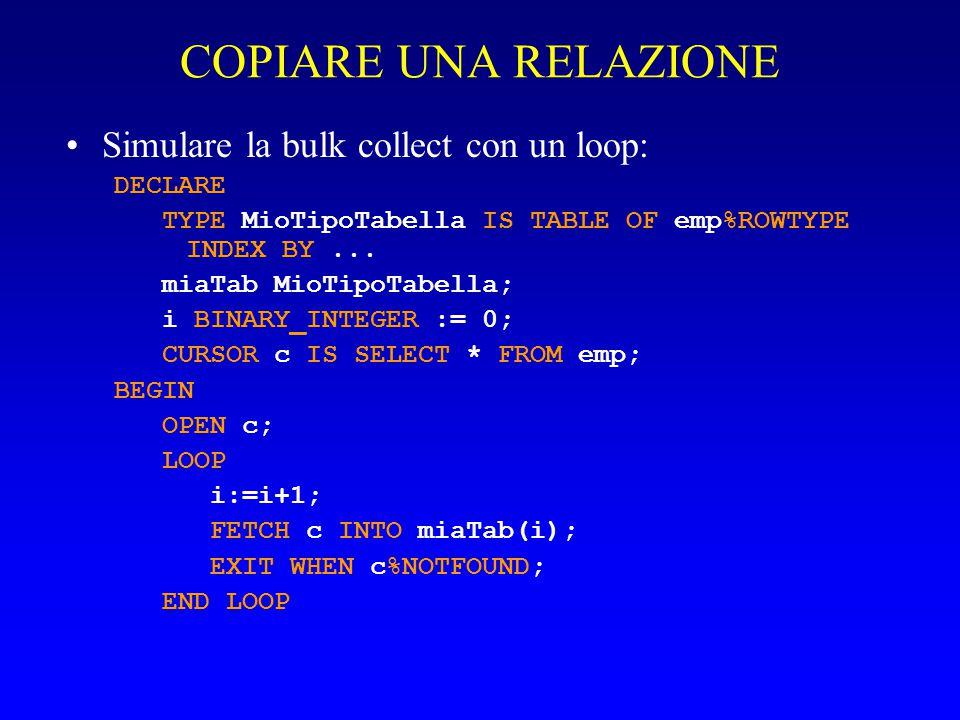 COPIARE UNA RELAZIONE Simulare la bulk collect con un loop: DECLARE TYPE MioTipoTabella IS TABLE OF emp%ROWTYPE INDEX BY... miaTab MioTipoTabella; i B