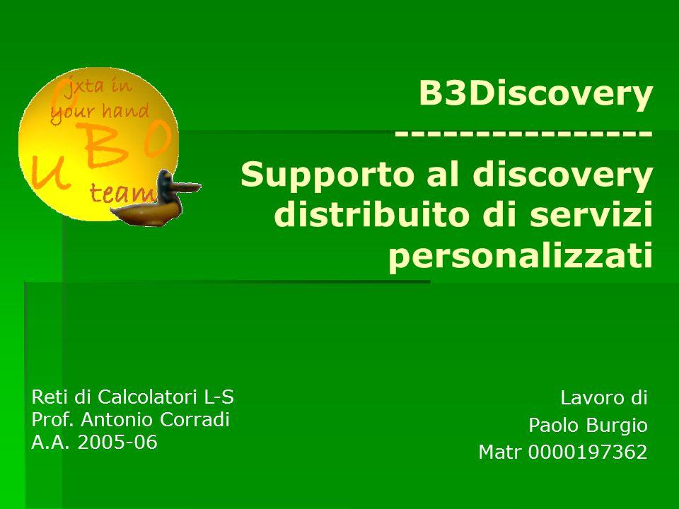 B3Discovery ---------------- Supporto al discovery distribuito di servizi personalizzati Lavoro di Paolo Burgio Matr 0000197362 Reti di Calcolatori L-S Prof.