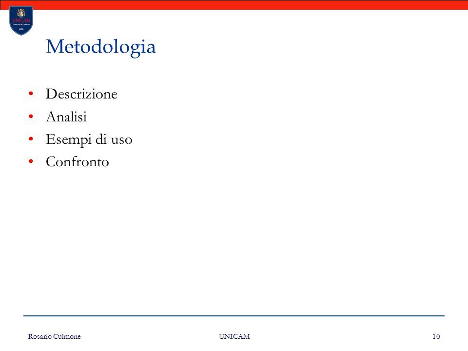 Rosario Culmone UNICAM 10 Metodologia Descrizione Analisi Esempi di uso Confronto