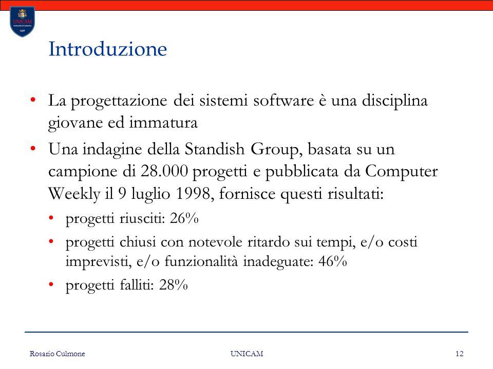 Rosario Culmone UNICAM 12 Introduzione La progettazione dei sistemi software è una disciplina giovane ed immatura Una indagine della Standish Group, b