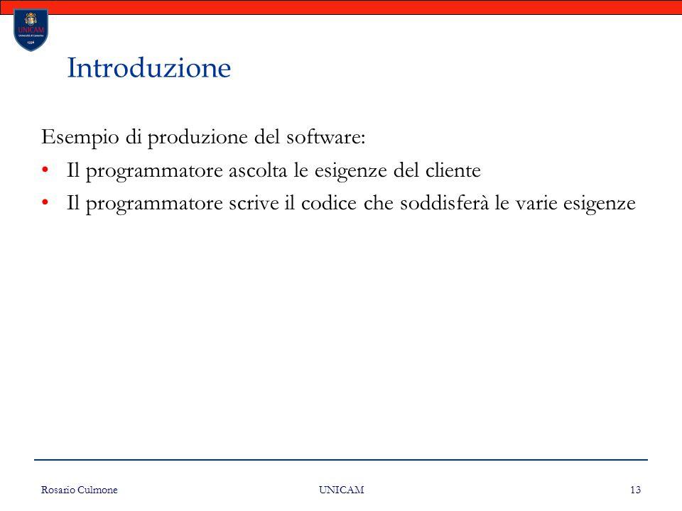 Rosario Culmone UNICAM 13 Introduzione Esempio di produzione del software: Il programmatore ascolta le esigenze del cliente Il programmatore scrive il