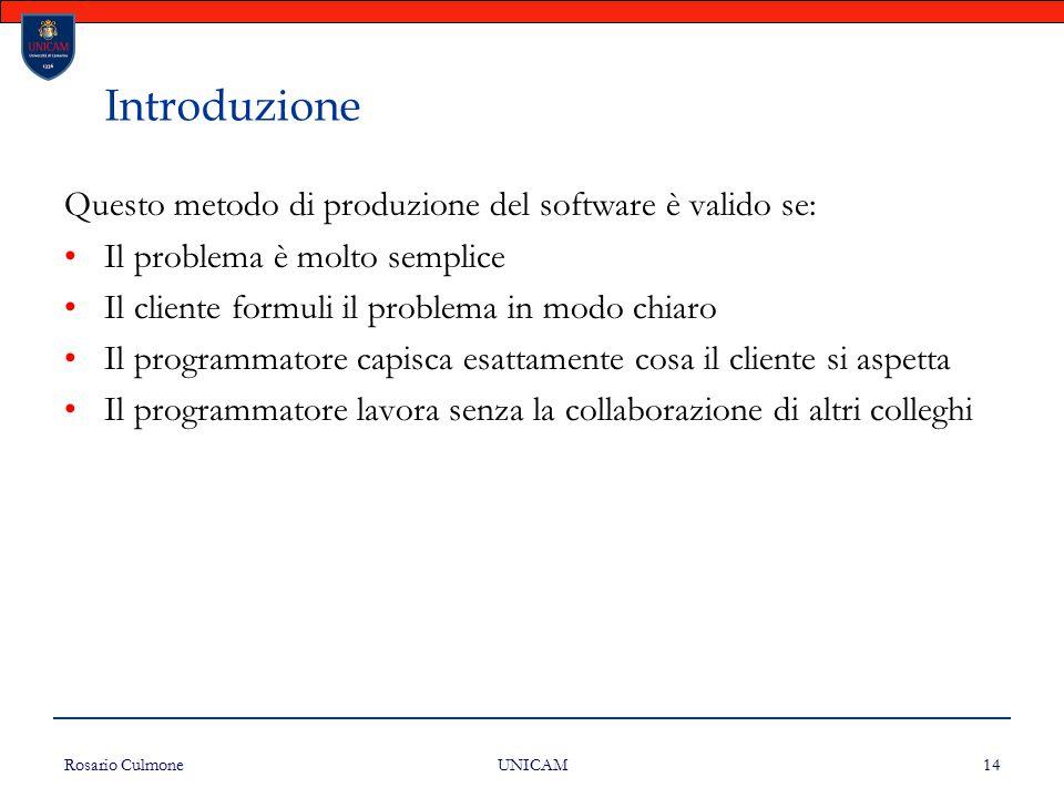 Rosario Culmone UNICAM 14 Introduzione Questo metodo di produzione del software è valido se: Il problema è molto semplice Il cliente formuli il proble