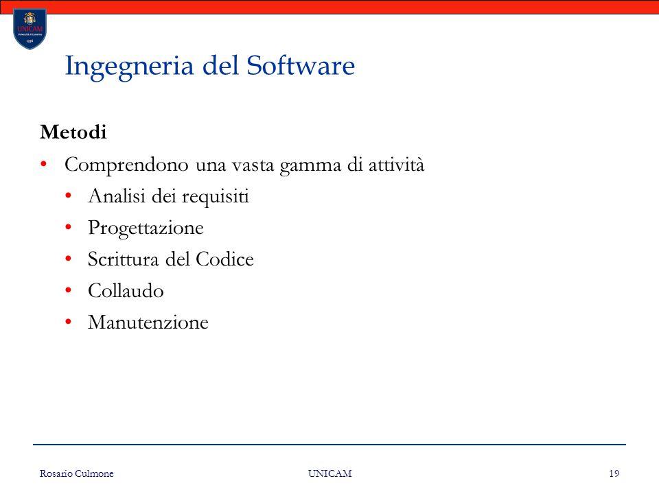 Rosario Culmone UNICAM 19 Ingegneria del Software Metodi Comprendono una vasta gamma di attività Analisi dei requisiti Progettazione Scrittura del Cod