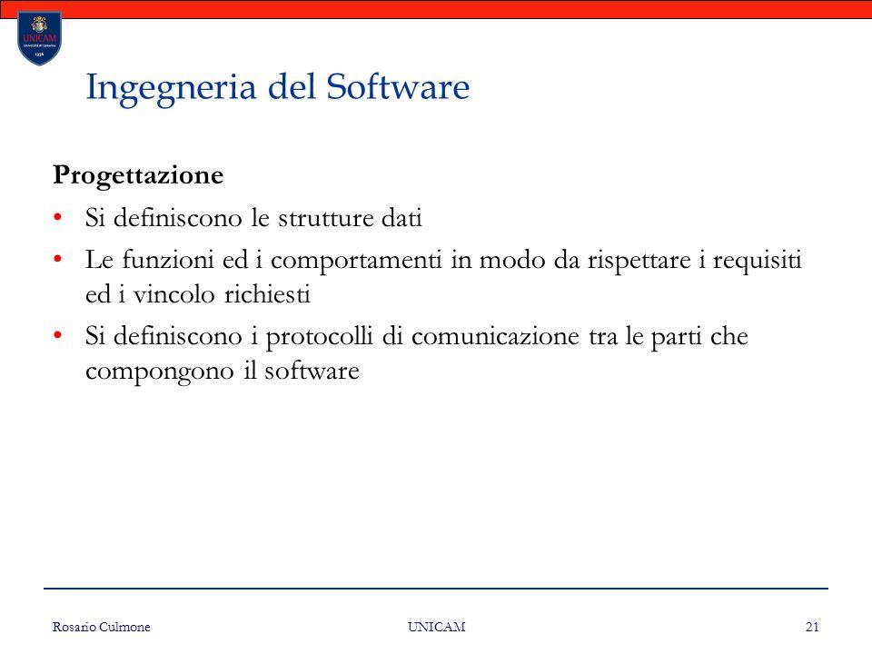Rosario Culmone UNICAM 21 Ingegneria del Software Progettazione Si definiscono le strutture dati Le funzioni ed i comportamenti in modo da rispettare