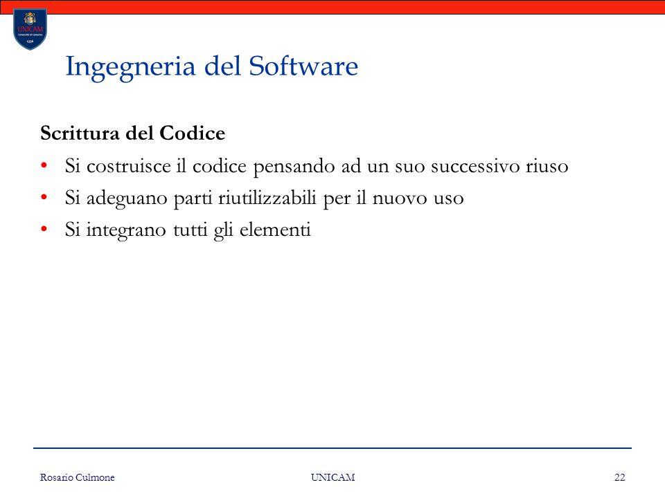 Rosario Culmone UNICAM 22 Ingegneria del Software Scrittura del Codice Si costruisce il codice pensando ad un suo successivo riuso Si adeguano parti r