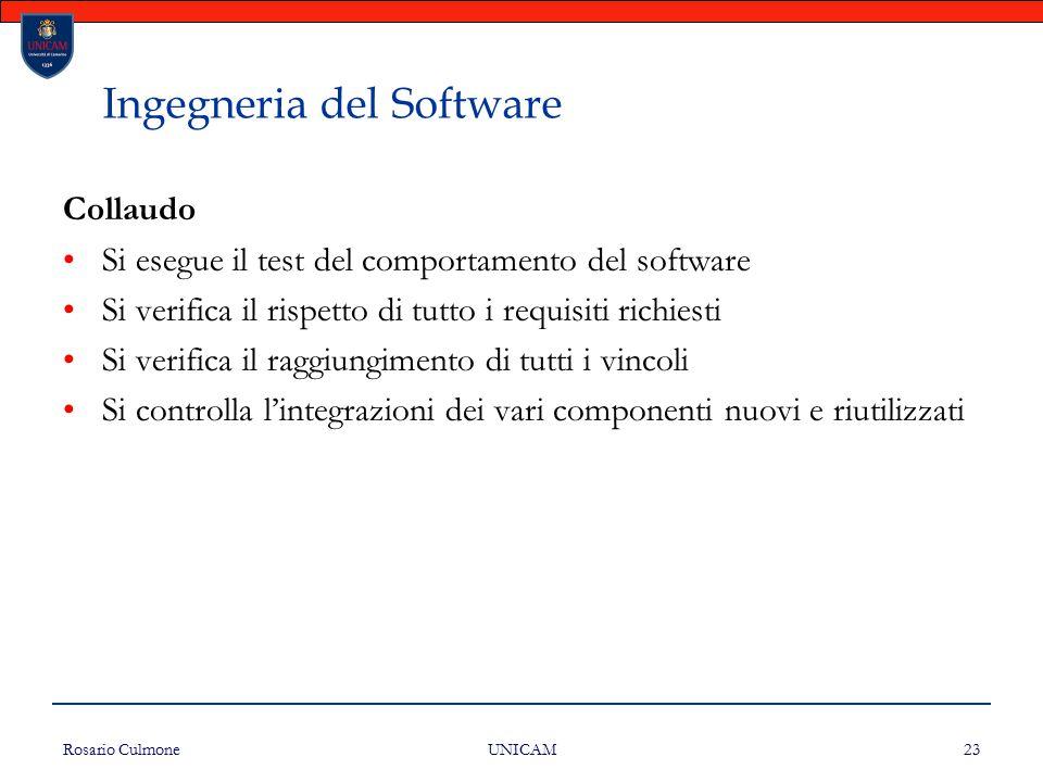 Rosario Culmone UNICAM 23 Ingegneria del Software Collaudo Si esegue il test del comportamento del software Si verifica il rispetto di tutto i requisi