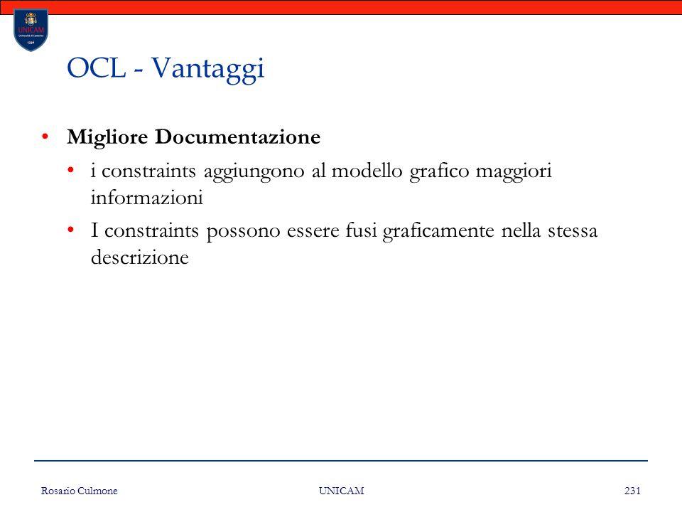Rosario Culmone UNICAM 231 OCL - Vantaggi Migliore Documentazione i constraints aggiungono al modello grafico maggiori informazioni I constraints poss