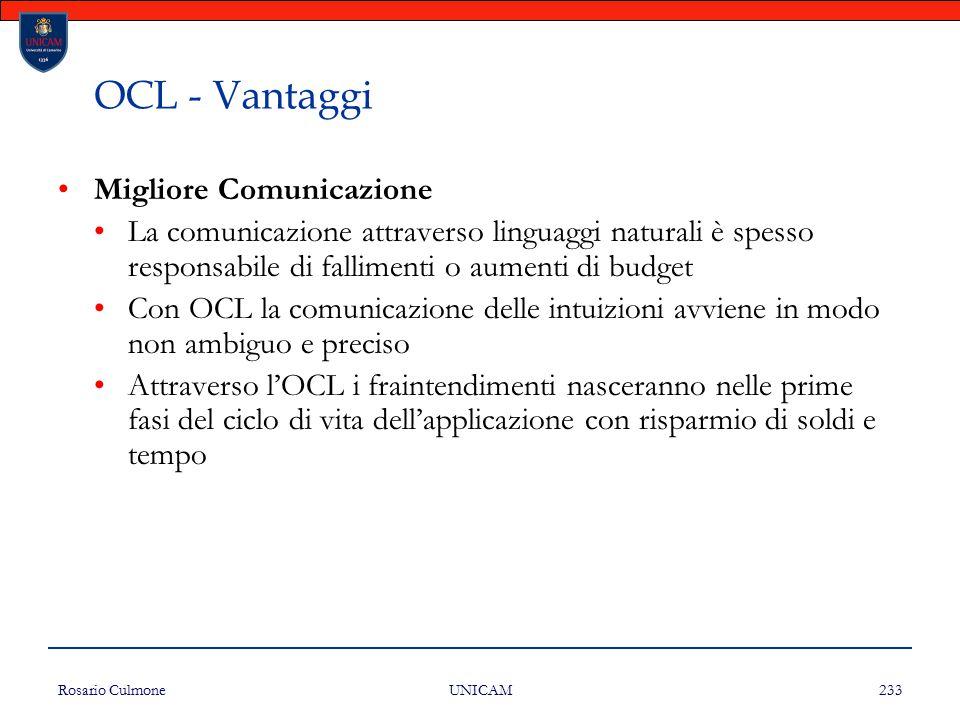Rosario Culmone UNICAM 233 OCL - Vantaggi Migliore Comunicazione La comunicazione attraverso linguaggi naturali è spesso responsabile di fallimenti o