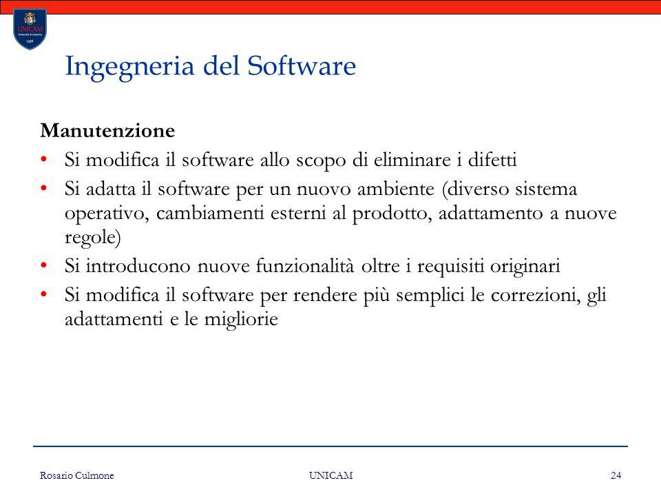 Rosario Culmone UNICAM 24 Ingegneria del Software Manutenzione Si modifica il software allo scopo di eliminare i difetti Si adatta il software per un