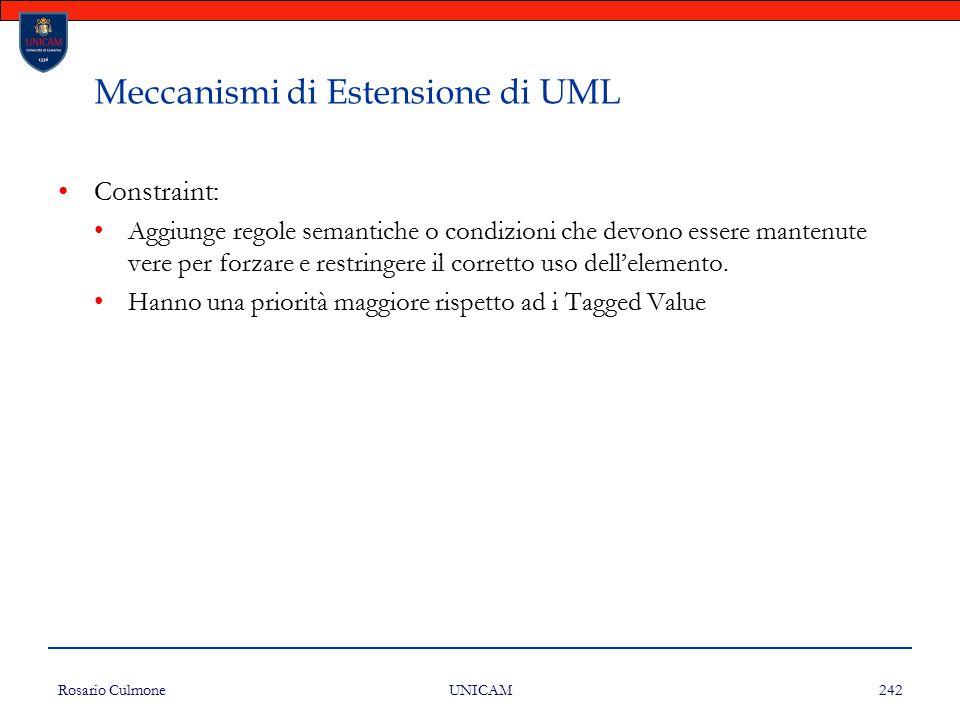 Rosario Culmone UNICAM 242 Meccanismi di Estensione di UML Constraint: Aggiunge regole semantiche o condizioni che devono essere mantenute vere per fo
