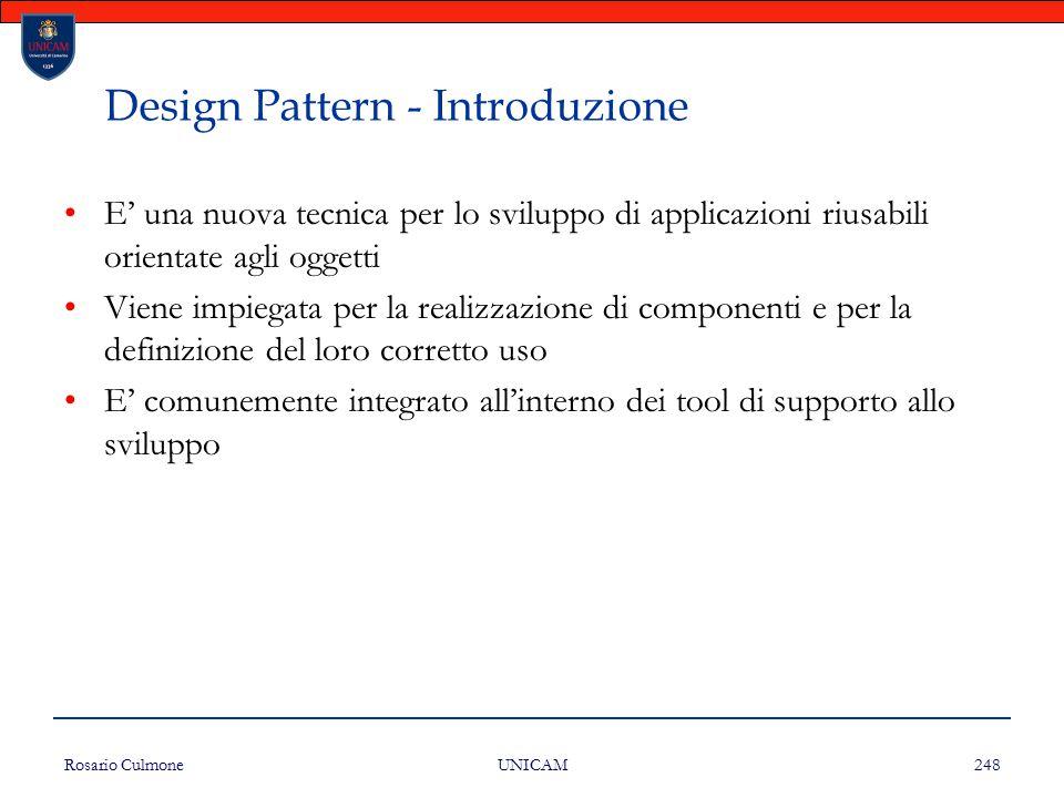 Rosario Culmone UNICAM 248 Design Pattern - Introduzione E' una nuova tecnica per lo sviluppo di applicazioni riusabili orientate agli oggetti Viene i