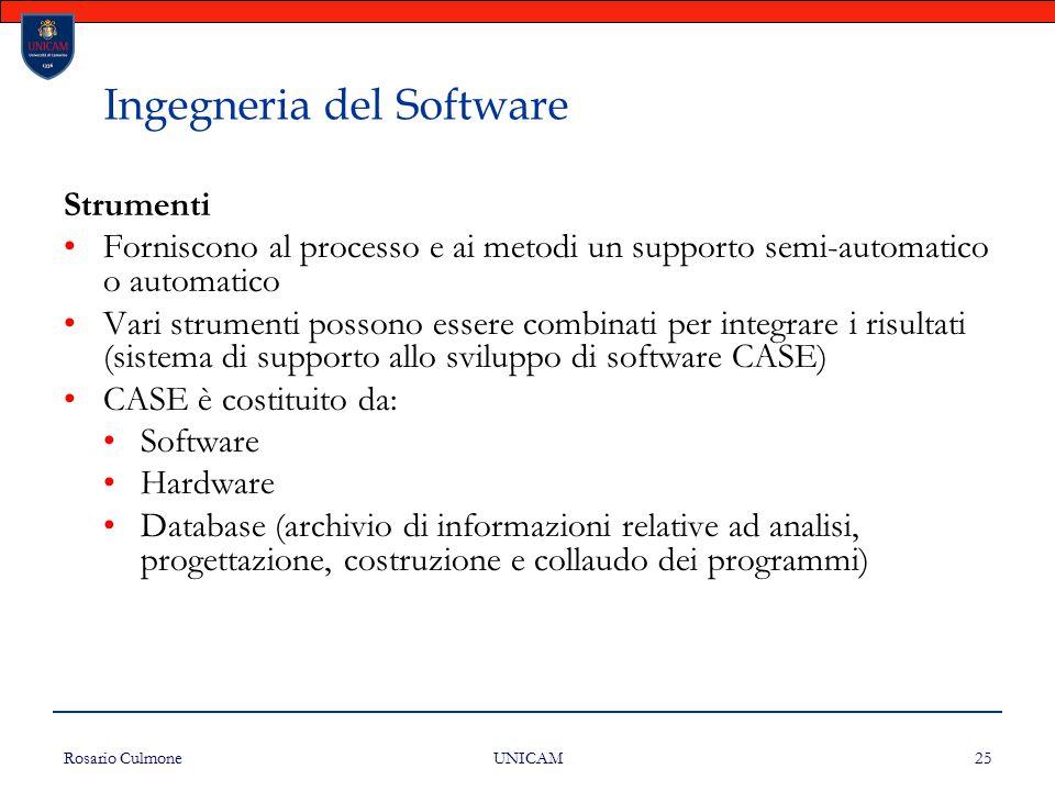 Rosario Culmone UNICAM 25 Ingegneria del Software Strumenti Forniscono al processo e ai metodi un supporto semi-automatico o automatico Vari strumenti