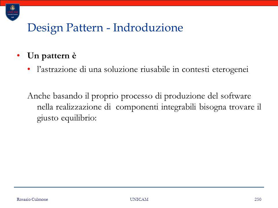 Rosario Culmone UNICAM 250 Design Pattern - Indroduzione Un pattern è l'astrazione di una soluzione riusabile in contesti eterogenei Anche basando il