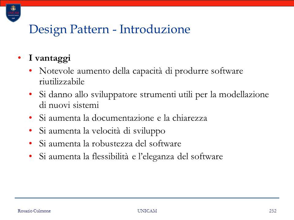 Rosario Culmone UNICAM 252 Design Pattern - Introduzione I vantaggi Notevole aumento della capacità di produrre software riutilizzabile Si danno allo