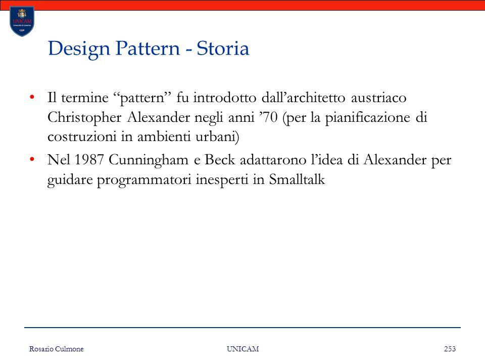 """Rosario Culmone UNICAM 253 Design Pattern - Storia Il termine """"pattern"""" fu introdotto dall'architetto austriaco Christopher Alexander negli anni '70 ("""