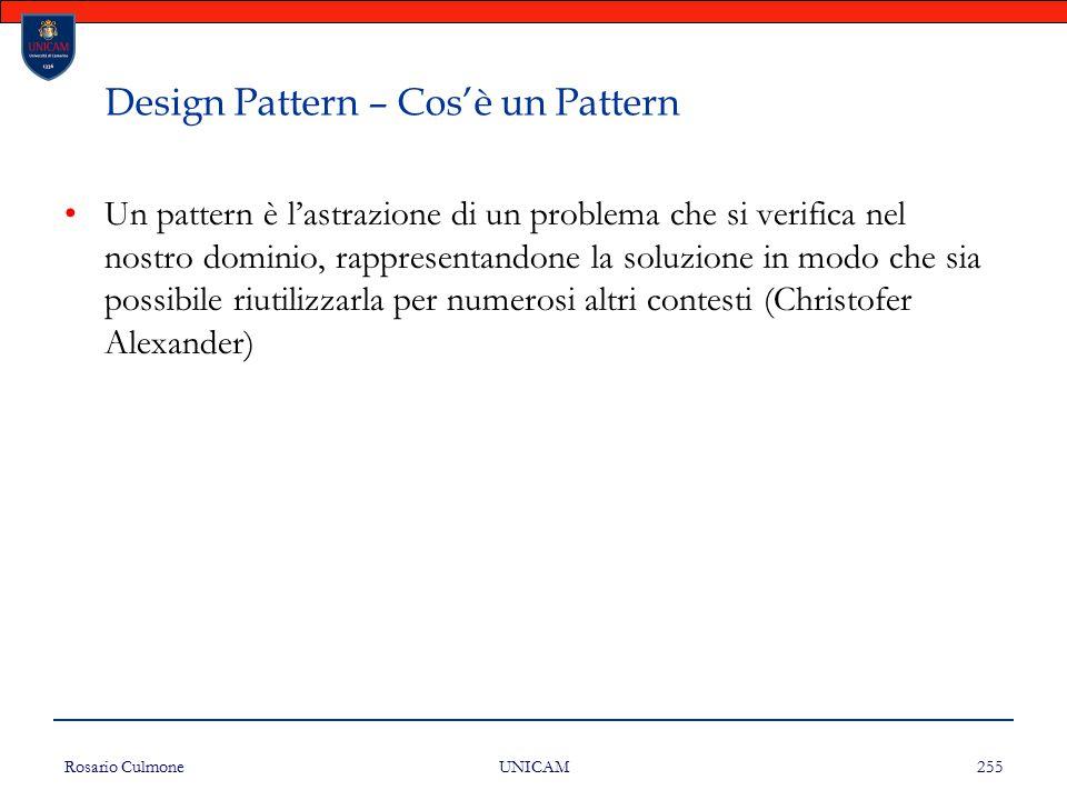 Rosario Culmone UNICAM 255 Design Pattern – Cos'è un Pattern Un pattern è l'astrazione di un problema che si verifica nel nostro dominio, rappresentan