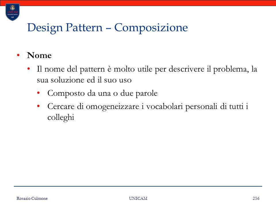 Rosario Culmone UNICAM 256 Design Pattern – Composizione Nome Il nome del pattern è molto utile per descrivere il problema, la sua soluzione ed il suo