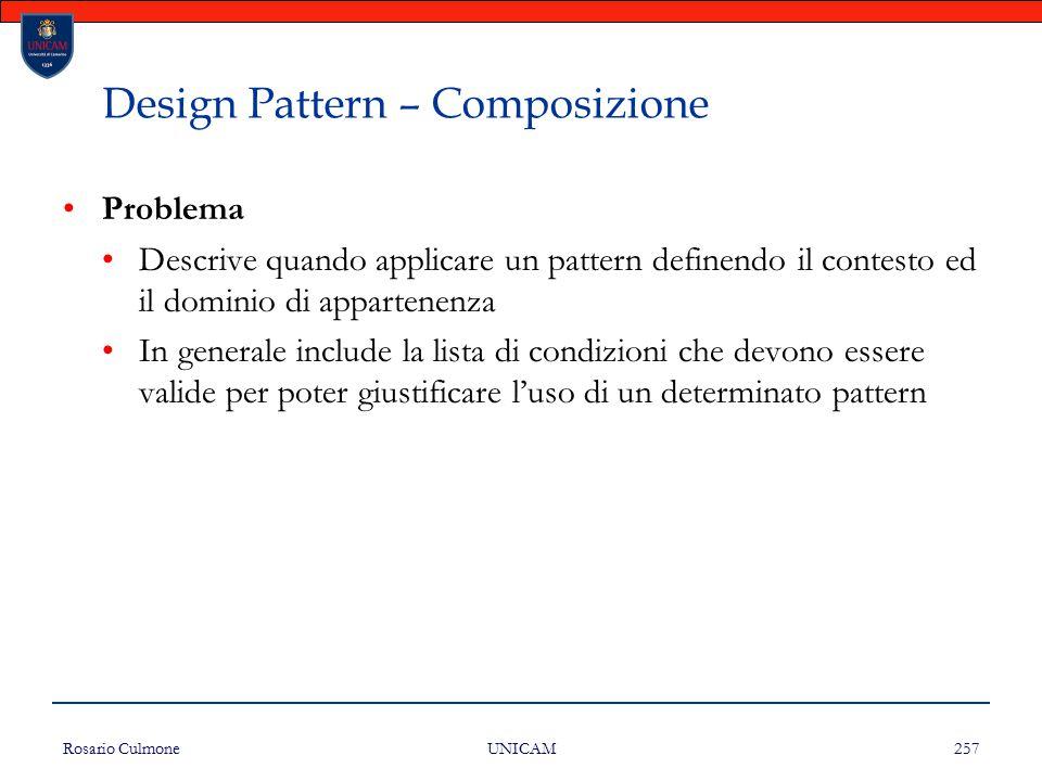 Rosario Culmone UNICAM 257 Design Pattern – Composizione Problema Descrive quando applicare un pattern definendo il contesto ed il dominio di apparten